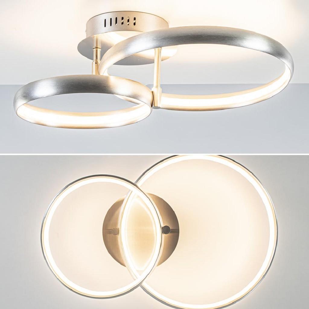 LED plafondlamp met 2 nikkel ringen