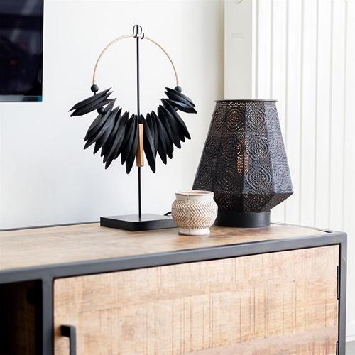 Lantaarn tafellamp donker bruin oriental