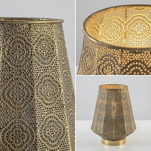 Oosterse tafellamp lantaarn metaal goud