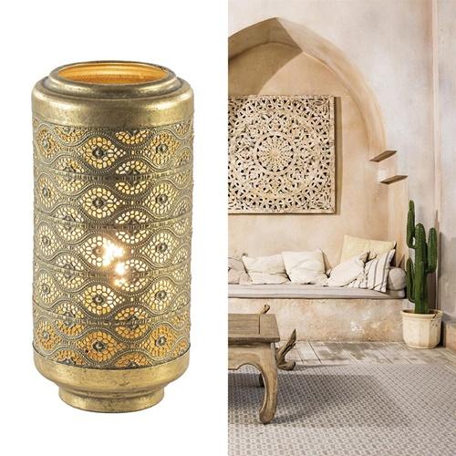 Oosterse tafellamp lantaarn cilinder goud klein