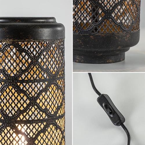 Metalen tafellamp donker bruin cilinder Oosters
