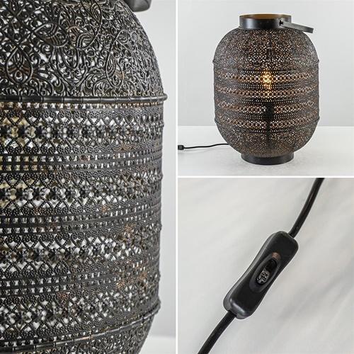 Grote Oosterse tafellamp lantaarn donker bruin