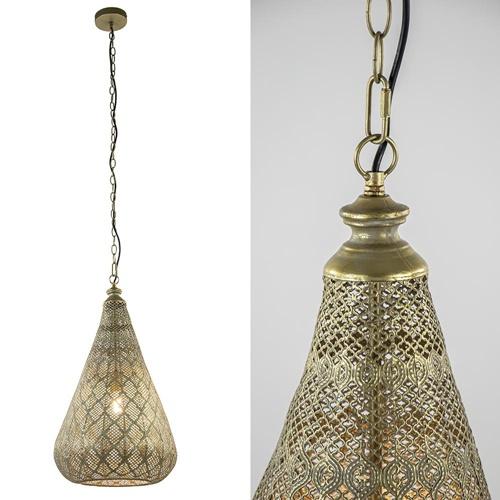 Oosterse hanglamp kegel goud groot