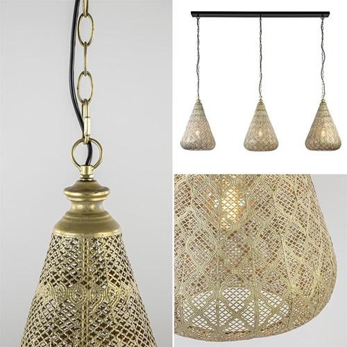 Grote hanglamp 3-lichts mat goud met zwarte balk