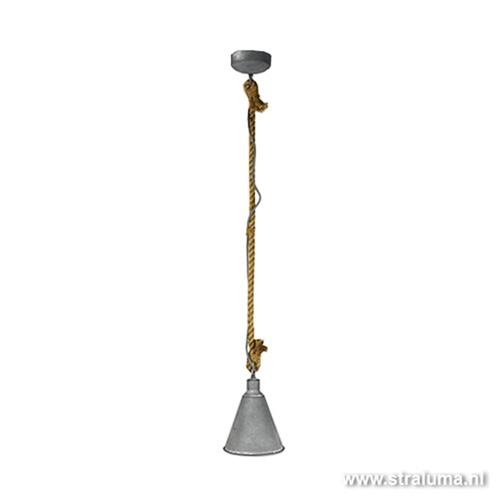 Hanglamp beton-touw voor keuken-hal-wc