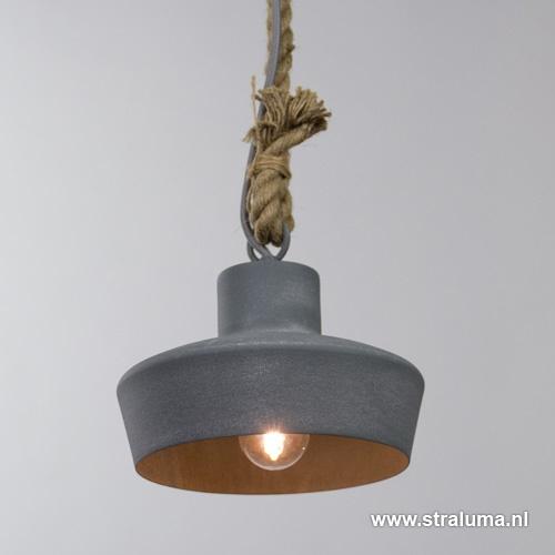 Industriele hanglamp klein betonlook/to