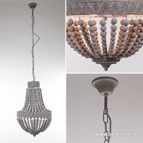Kralen hanglamp-kroon Luna grijs 41 cm