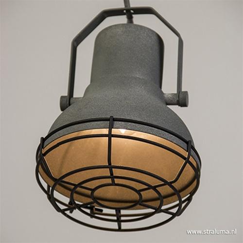 Bar-eettafel hanglamp 3-licht betonlook.