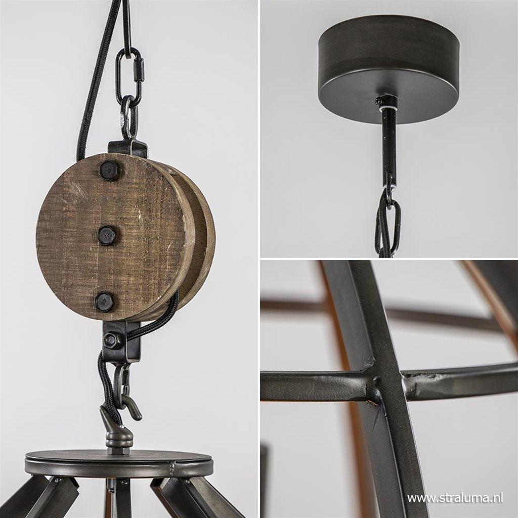 Industriële hanglamp 'Matrix' zwart staal houten katrol