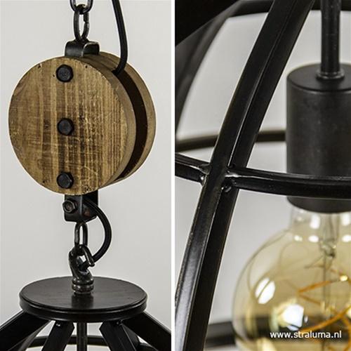 Hanglamp 'Matrix' 2-lichts industrieel zwart houten katrol