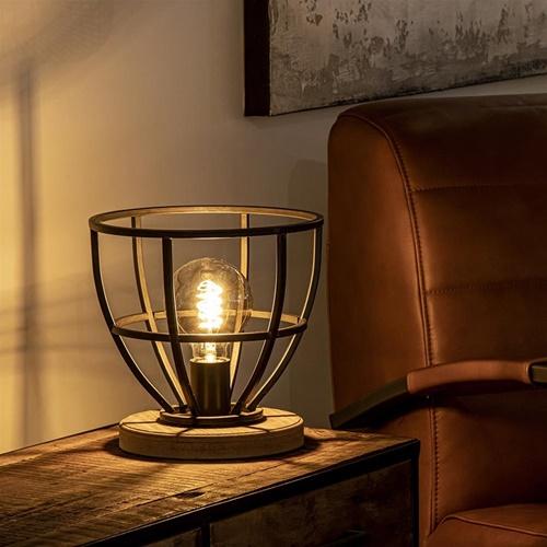 Tafellamp Matrix korf zwart met hout