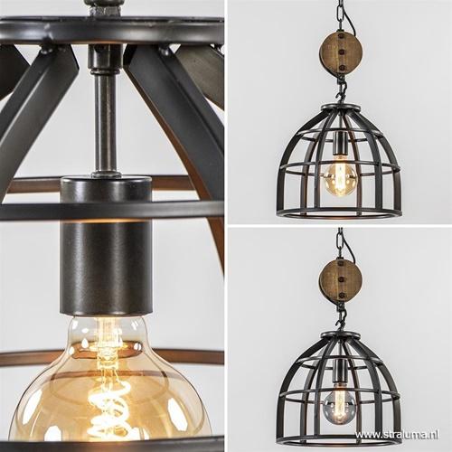 Industriële hanglamp 'Matrix' korf 3-lichts metaal