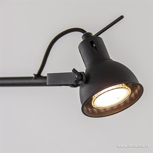 Industriële lees/vloerlamp zwart metaal