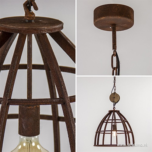 Industriële hanglamp Matrix roest met hout