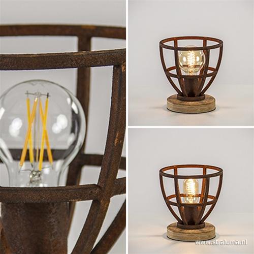Stoere tafellamp Matrix roest met hout