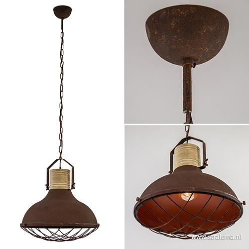Grote hanglamp Emma roest met houten klos