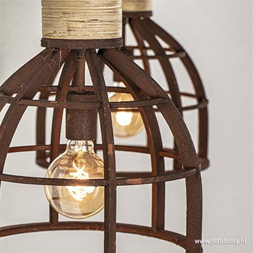 Eettafelhanglamp roest met houten klos