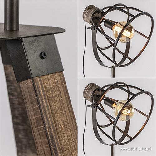 Driepoot vloerlamp Matrix zwart staal met hout