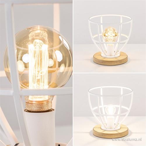 Wit metalen tafellamp met houten voet