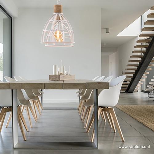 Landelijke hanglamp Matrix wit met hout