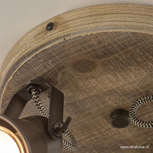 Landelijke 3-lichts plafondspot Seed metaal met hout