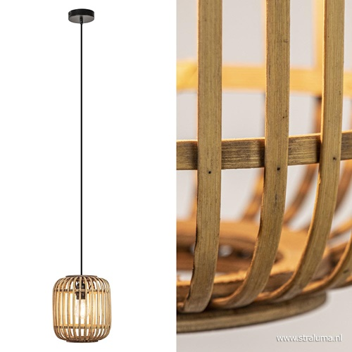 Landelijke hanglamp rotan kap voor hal/toilet
