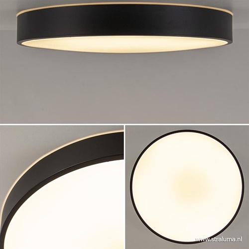Ronde plafondlamp zwart inclusief LED en remote