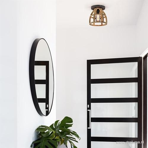 Plafondlamp Matrix houten korf met zwart