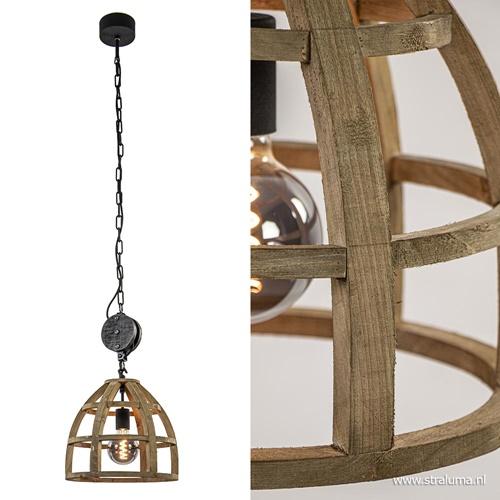 Hanglamp houten korf met zwarte katrol