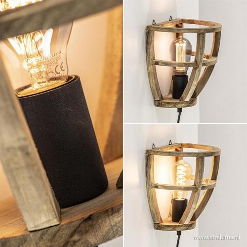 Wandlamp houten korf inclusief zwart snoer