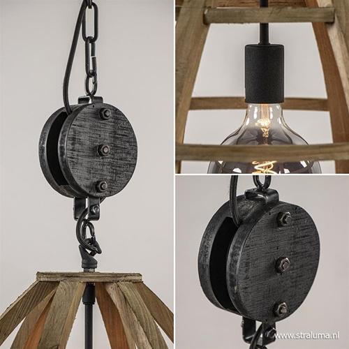 Landelijke hanglamp Matrix 47 cm hout