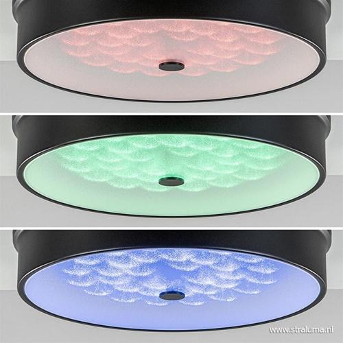 Ronde plafondlamp Medusa zwart met dimbaar LED en remote