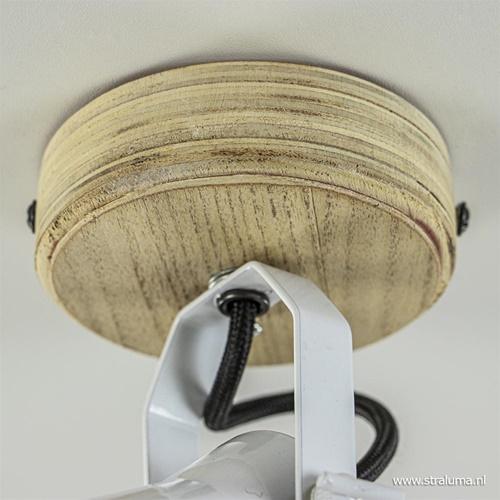 Wit metalen plafondlamp met hout en zwart