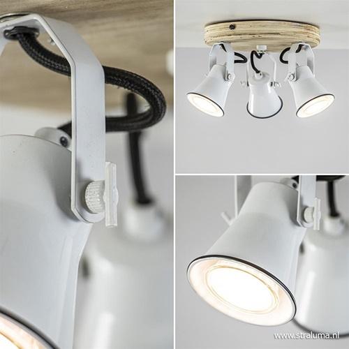 Landelijke 3-lichts plafondspot wit met hout