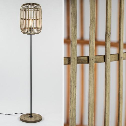 Landelijke vloerlamp bamboe met houten voet