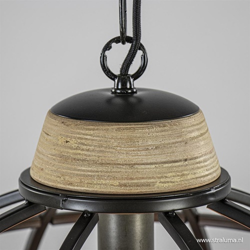 Hanglamp koepel zwart/hout industrieel