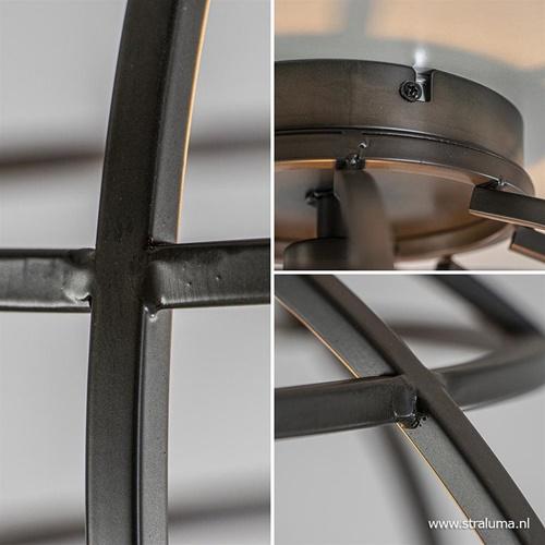 Industriële plafondlamp Matrix zwart staal