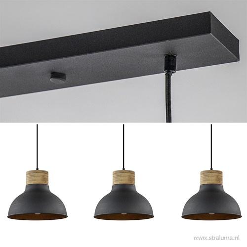3-lichts eettafelhanglamp Emma mat zwart met hout