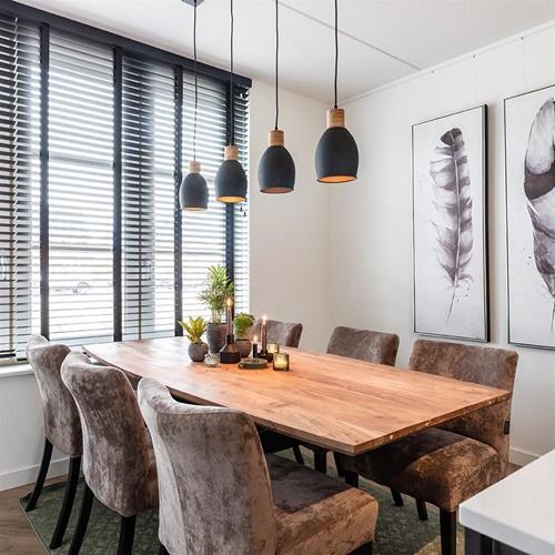 Landelijke eettafelhanglamp 4-lichts mat zwart met hout