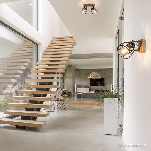 Plafondspot 2-L korf zwart/hout industr.