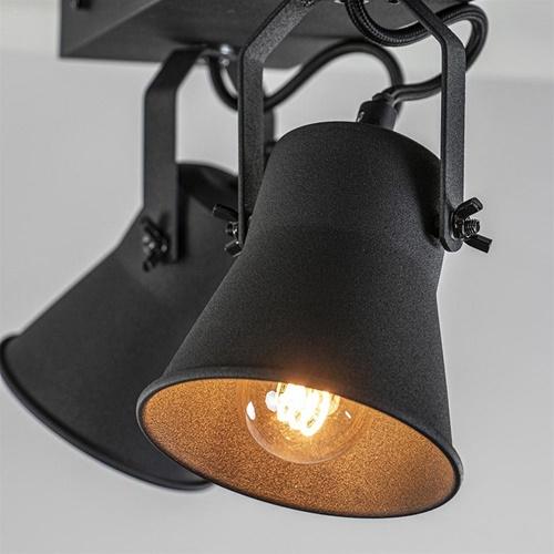 Industriële 2-lichts plafondspot mat zwart