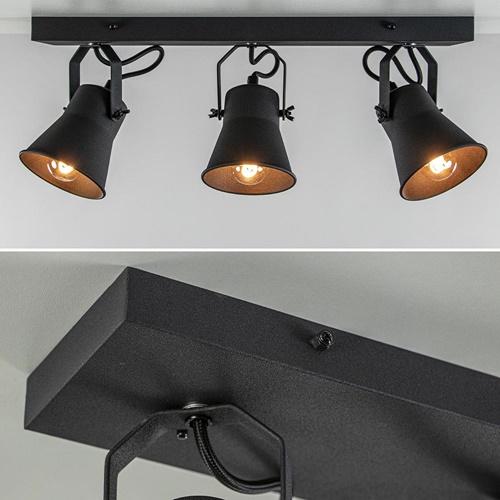 Metalen 3-l plafondlamp mat zwart verstelbaar