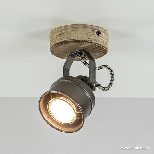 1-Lichts opbouwspot zwart staal met hout