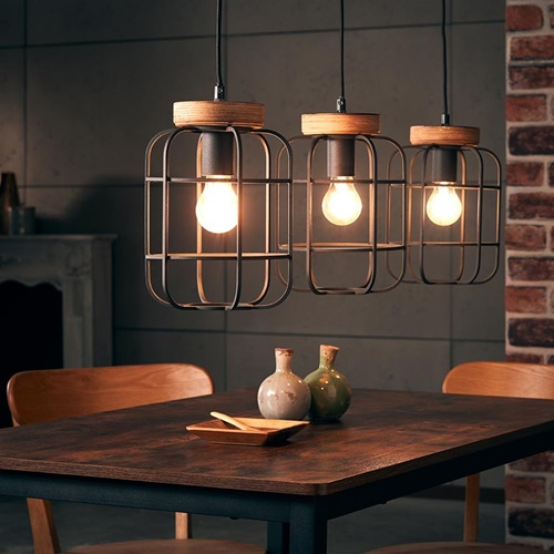 Landelijke 3-lichts hanglamp mat zwart met hout