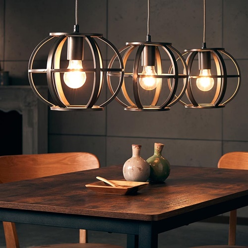Industriële 3-lichts hanglamp bol metaal
