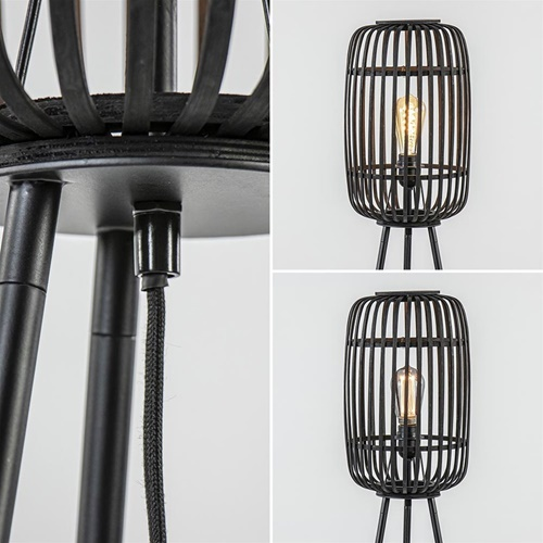 Vloerlamp bamboe driepoot zwart