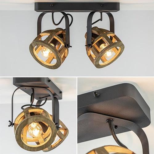 Landelijk industriële 2-lichts plafondspot Matrix hout/metaal