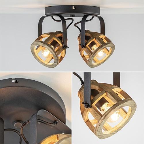 Plafondspot 2L rond hout/metaal industrieel