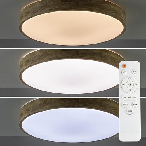 Plafondlamp hout 50cm remote CCT