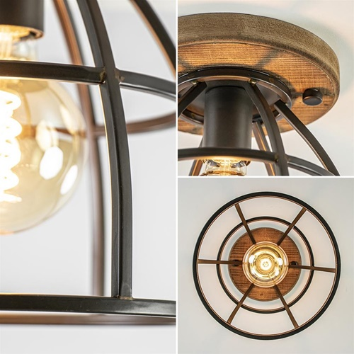 Landelijke plafondlamp metalen kooi met hout